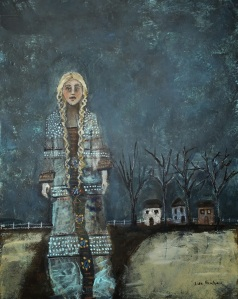 1-14 Bree and the Dreamweaver Coat 8 x 10 mixed media on canvas panel..jpg photo
